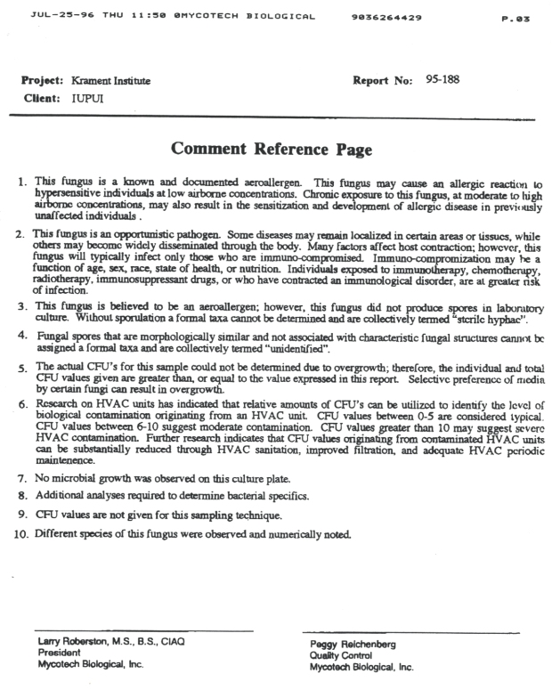 Comment Reference Page